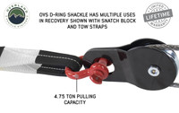 """Recovery Shackle 3/4"""" 4.75 Ton Red (19019904) Shackle D-Ring in Use on Snatch Block, OVS D-Ring Shackle Has Multiple Uses In Recovery Shown with Snatch Block And Tow Straps. 4.75 Ton pulling capacity."""