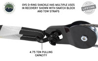 "19010201 Recovery Shackle 3/4"" 4.75 Ton Black - Sold In Pairs. Shackle D-Ring in Use on Snatch Block, OVS D-Ring Shackle Has Multiple Uses In Recovery Shown with Snatch Block And Tow Straps. 4.75 Ton pulling capacity."