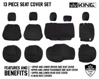 Neoprene Seat Covers, Black/Black - JL 4 Door 2018-2019 Jeep Wrangler Unlimited. 13 piece Seat Cover Set, Full View.