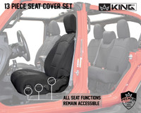 Neoprene Seat Covers, Black/Black - JL 4 Door 2018-2019 Jeep Wrangler Unlimited. Neoprene Seat Cover Functionality, All seat functions remain accessible.