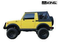 14011035 King 4WD Premium Replacement Soft Top, Black Diamond With Tinted Windows, 1986-1994 Suzuki Samurai. Side View