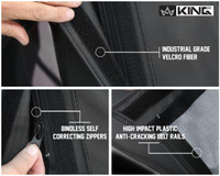 14011235 King 4WD Premium Replacement Soft Top, Black Diamond With Tinted Windows, Jeep YJ 1987-1995 Wrangler - Industrial Grade Velcro Fiber, Bindless Self-correcting zippers, High Impact Plastic Anti-Cracking Belt Rails.
