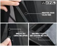 14011235 King 4WD Premium Replacement Soft Top, Black Diamond With Tinted Windows, Jeep YJ 1987-1995 Wrangler - Industrial Grade Velcro Fiber, Bindless Self-correcting zippers, High Impact Plastic Anti-Cracking Belt Rails.