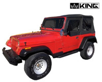 14011235 King 4WD Premium Replacement Soft Top, Black Diamond With Tinted Windows, Jeep YJ 1987-1995 Wrangler - Front Side View