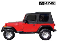 14011235 King 4WD Premium Replacement Soft Top, Black Diamond With Tinted Windows, Jeep YJ 1987-1995 Wrangler - Side View