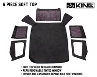 14011235 King 4WD Premium Replacement Soft Top, Black Diamond With Tinted Windows, Jeep YJ 1987-1995 Wrangler - 6 Piece Soft Top, Soft Top Deck in Black Diamond,  Rear Removable Tinted Window, Driver and Passenger Removable Side Windows.