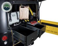 Cargo Box With Slide Out Drawer & Working Station - Double Cargo Box in Jeep. Retractable work station view