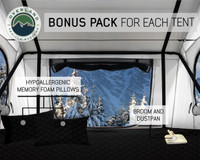 18039926 OVS Nomadic 3 Extended Roof Top Tent - White Base With Gray Rain Fly & Black Cover Universal. Included is a free RTT bonus pack for your Overland Vehicle Nomadic 3 memory foam pillow, dust pan with broom and a laptop table.  A perfect free upgrade for your Overland Vehicle Systems Nomadic 3 Roof Top Tent.