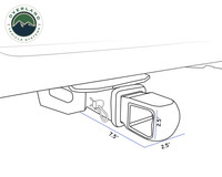 19109902 Aluminum Receiver Mount- Line art of the Aluminum Receiver mount installed in to a tail hitch.