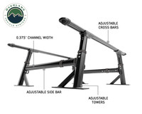 Freedom Bed Rack- KO Shot- with descriptive measurements  of its attributes