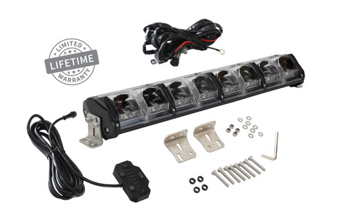 """15010201 Overland Vehicle Systems EKO 20"""" LED Light Bar With Variable Beam, DRL,RGB, 6 Brightness. IP 68 rated, 124 Watts 28 Osram High Intensity LED's with Olson Chip and RGB technology. Over 50,000 Continuous hours, Aircraft Grade 6061 Aluminum Body with Heat Dissipating Fins and Lexan Polycarbonate Molded Lens"""