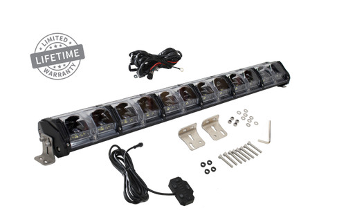 "15010301 Overland Vehicle Systems EKO 30"" LED Light Bar With Variable Beam, DRL,RGB, 6 Brightness. IP 68 rated, 124 Watts 28 Osram High Intensity LED's with Olson Chip and RGB technology. Over 50,000 Continuous hours, Aircraft Grade 6061 Aluminum Body with Heat Dissipating Fins and Lexan Polycarbonate Molded Lens."