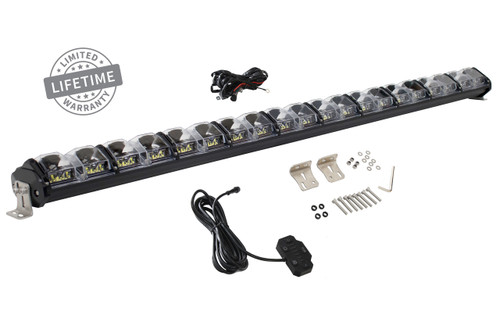 "15010501 Overland Vehicle Systems EKO 40"" LED Light Bar With Variable Beam, DRL,RGB, 6 Brightness. IP 68 rated, 124 Watts 28 Osram High Intensity LED's with Olson Chip and RGB technology. Over 50,000 Continuous hours, Aircraft Grade 6061 Aluminum Body with Heat Dissipating Fins and Lexan Polycarbonate Molded Lens."