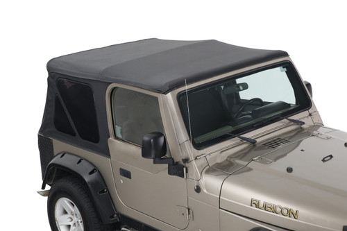 14010235 King 4WD Premium Replacement Soft Top Without Upper Doors, Black Diamond With Tinted Windows, Jeep Wrangler TJ 1997-2006. Soft Top Top View.