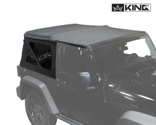 14010535 King 4WD Premium Replacement Soft Top, Black Diamond With Tinted Windows, Jeep Wrangler JK 2 Door 2010-2018. Front View of Replacement Top.