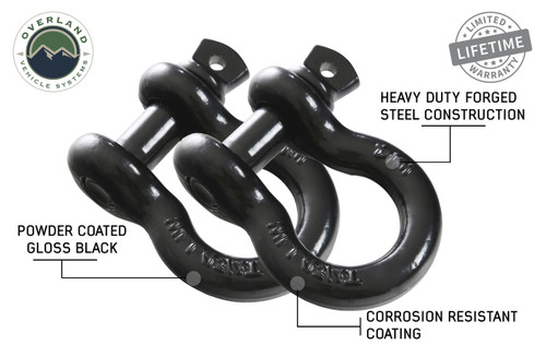 "19010201 Recovery Shackle 3/4"" 4.75 Ton Black - Sold In Pairs. Pair of D-Ring Shackles, Heavy Duty Forged Steel Construction. Corrosion Resistant Coating. Powder Coated Gloss Black."