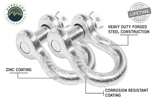 """Recovery Shackle D-Ring 3/4"""" 4.75 Ton Zinc - Sold In Pairs (19010205). Pair of D-Ring Shackles, Heavy Duty Forged Steel Construction. Corrosion Resistant Coating. Zinc Coat"""