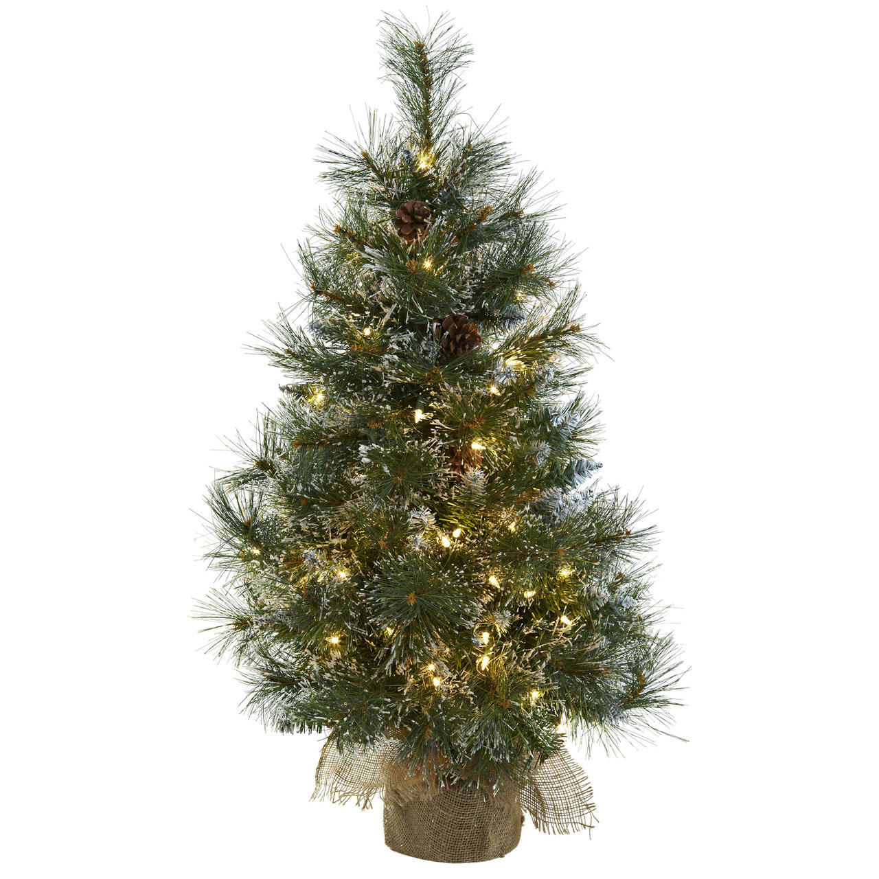 3 Ft Farmhouse Christmas Tree W 100 Clear Lights Flocked Tips Pine Cones Burlap Planter Modern Farmhouse Glam