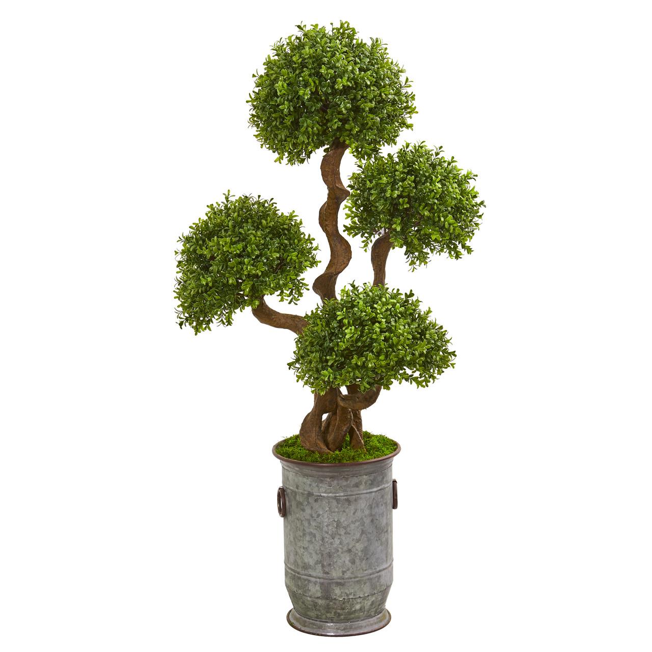 50 Triple Ball Boxwood Artificial Topiary Tree In Metal Planter Modern Farmhouse Glam
