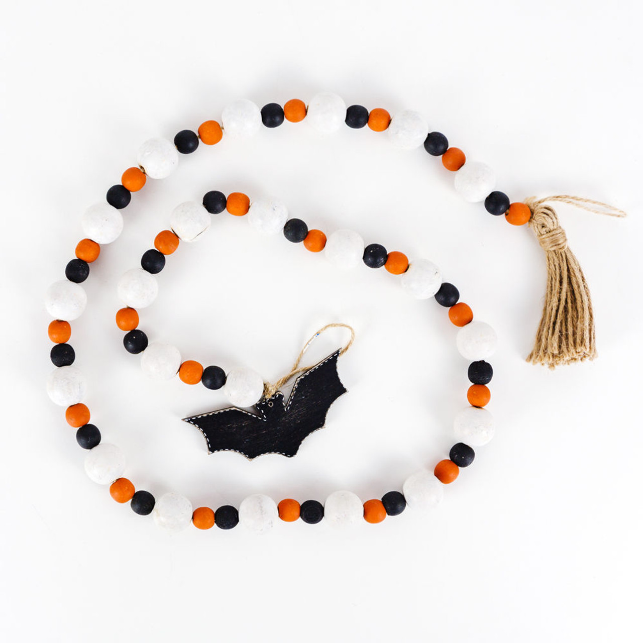 Sold Out Preorder Only Halloween Beaded Garland 60x1 Wood Bead Garland W Tassels And Bat
