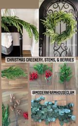 Realistic looking Christmas Greenery, Stems, & Garland at Modern Farmhouse Glam