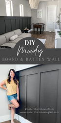 """DIY """"Moody"""" Board & Batten Accent Wall in Game Room at Modern Farmhouse Glam"""