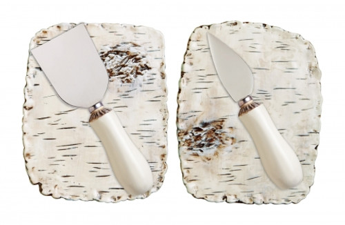 Two Birch Appetizer Plates w/ Knives and Gift Box