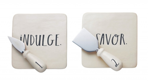 Rae Dunn Cheese Set w/ Knives in Gift Box