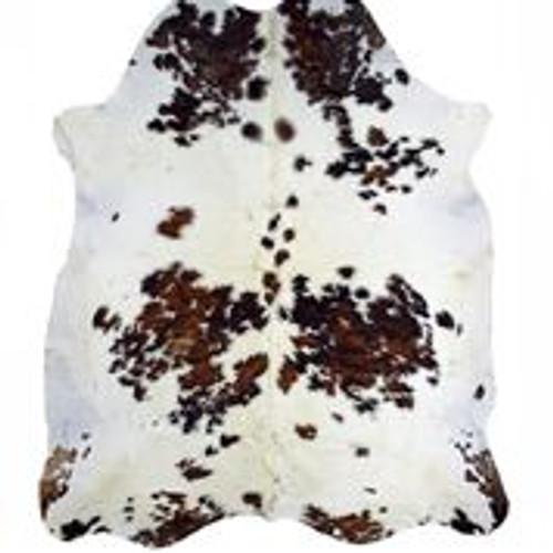 Tri-color Real Brazilian Cowhide Rug (white, brown, & black) 5x7