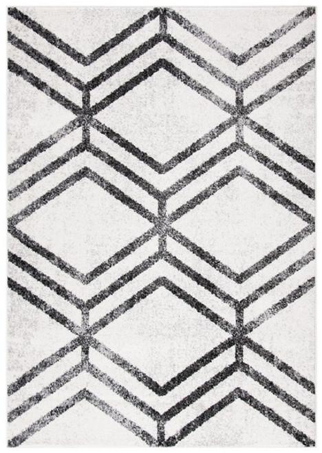 """Glam Diamonds"" Ivory and Charcoal Distressed Diamond Rug, 8x10"