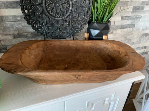 Classic large wooden dough bowl