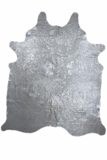 Metallic Silver Brazillian Real Cowhide Rug, 5x7