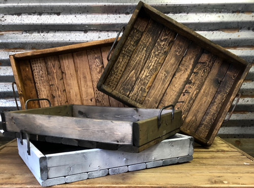 (3) (1 Lg, 1 Med, 1 Sm) Wooden trays w/ handles, handmade and stained or white-washed
