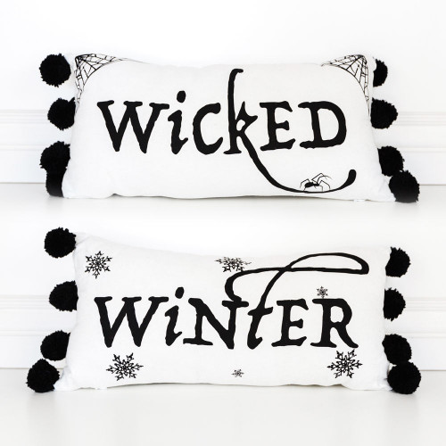 Wicked Halloween Pillow for Halloween, reversible for Christmas, Winter