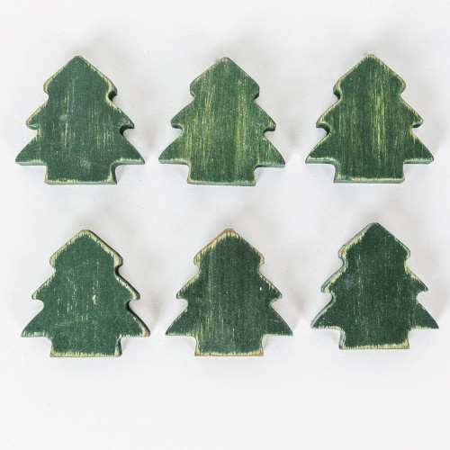 """Christmas Trees Wooden, Set of 6, 1.5"""" X 1.75"""" X .25"""""""