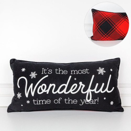 """Christmas Pillow (It's The Most Wonderful Time of the Year), 22"""" X 11"""" X 4"""" Double-Sided"""