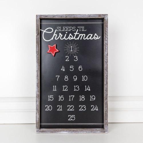 "Wood Framed Tree Countdown (Sleeps 'Til Christmas) 11"" X 18"" X 1.5"""
