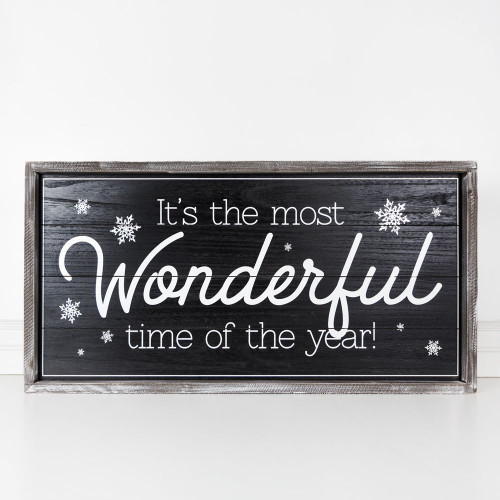 """Christmas Wood Framed Sign (It's The Most Wonderful Time...) 34"""" X 16"""" X 1.5"""""""