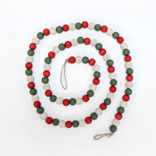 """Wooden Bead Christmas Garland, Green/White/Red -60"""" X .5"""""""
