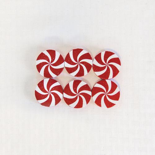 "Peppermints Wood Shape Christmas Tiles, Set of 6, 1.75"" X 1.75"" X .35"""