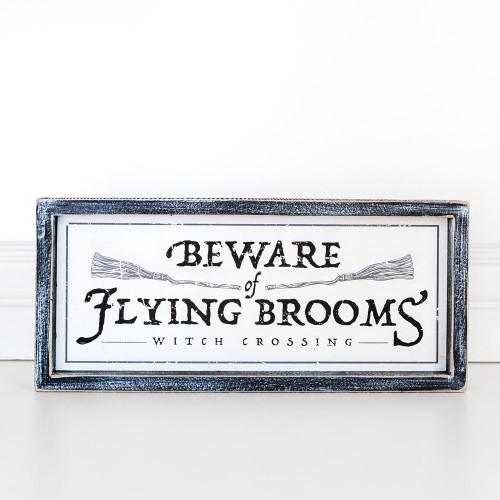 Halloween Sign-Beware of Flying Brooms, 14 x 6.25 x 1.5
