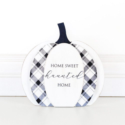 Home Sweet Haunted Home Halloween Sign, reversible,  8 x 8 x 1.5