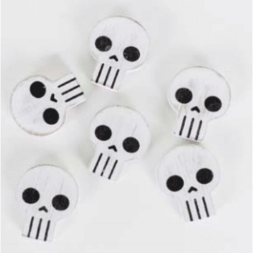 "Skulls, Halloween, Set of 6 Wood Shape Tiles, 1.5"" X 1.75"" X .25"""