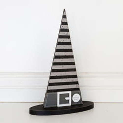 Wooden Halloween Witch Hat (STRIPES)10 x 14.5 x 4