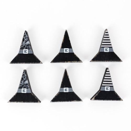 Witch Hats, wooden shapes, set of 6, 1.5 x 1.75 x .25