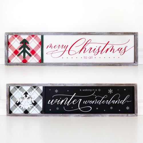 Merry Christmas, Winter Wonderland Reversible Christmas Sign, 37 x 9 x 1.5