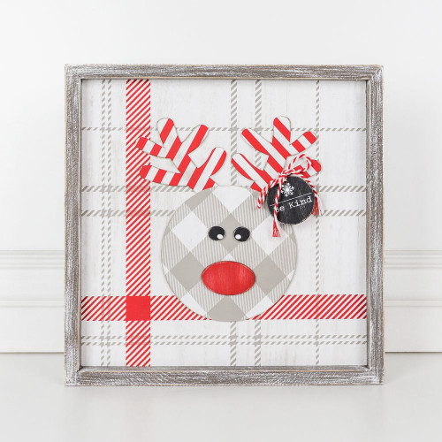 """Wood Christmas Framed Sign (Rudolph), White/Red/Gray 12"""" X 12"""" X 1.5"""""""