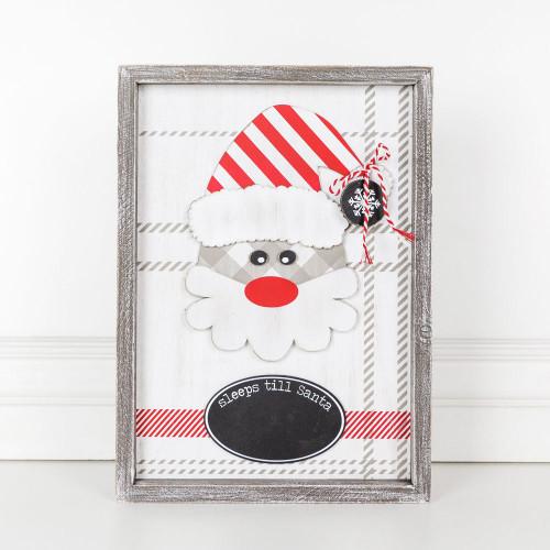"""Wood Christmas Framed Sign (Sleeps Till Santa), White/Red/Black/Gray -10"""" X 14"""" X 1.5"""""""