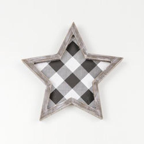"""Wood Framed Star, White/Black - 10"""" X 10"""" X 1.5"""""""