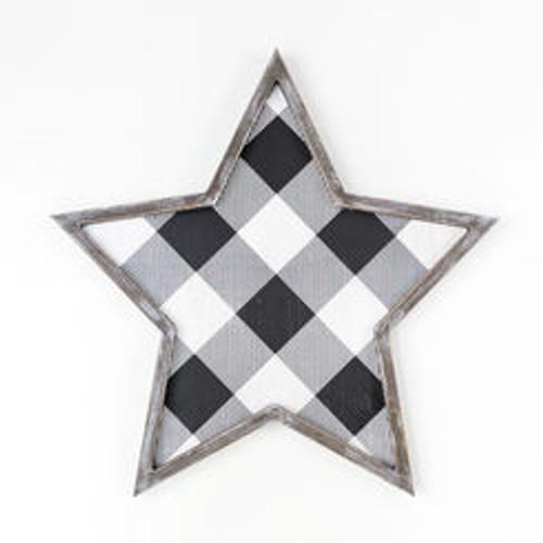 """Large Wood Framed Star, White/Black - 20"""" X 20"""" X 1.5"""""""